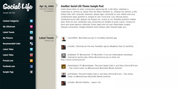 Social Life — Премиум тема WordPress от Prees75