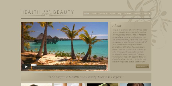 Премиум шаблон WordPress от OrganicThemes: Health and Beauty