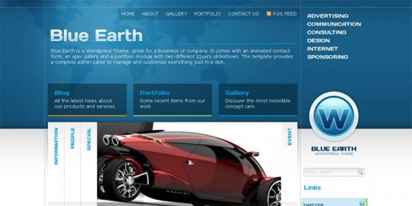 Премиум шаблон для WordPress от ThemeForest: Blue Earth