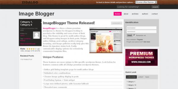 Премиум тема WordPress от Zidalgo: ImageBlogger