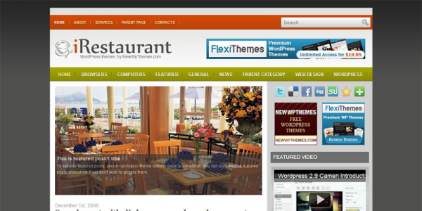 Тема ресторана WordPress от NewWpThemes: iRestaurant