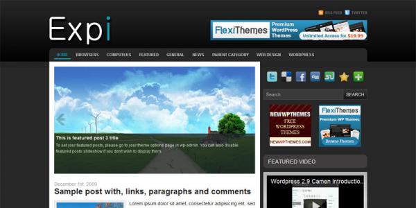 Темная новостная тема для WordPress от NewWpThemes: Expi