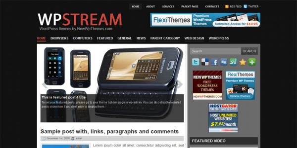 Новостной шаблон для WordPress от NewWpThemes: WpStream