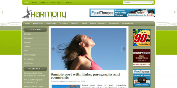 Спокойная тема WordPress от NewWpThemes: Harmony
