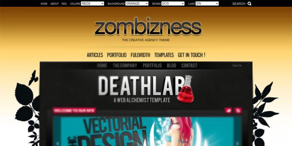 Шаблон портфолио на WordPress от Themeforest: Zombizness
