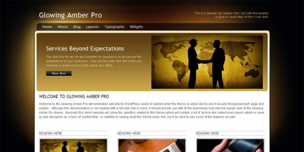 Премиум тема WordPress от PixelThemeStudio: Glowing Amber Pro