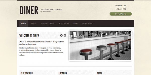 Премиум тема WordPress от WooThemes: Diner