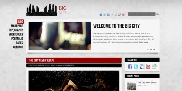 Премиум тема wordpress для блога от ThemeForest: Big City