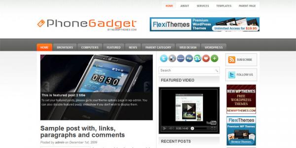 Новостная тема wordpress: PhoneGadget