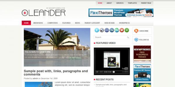 Светлый новостной шаблон для wordpress: Leander