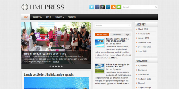 Серый шаблон для wordpress: TimePress