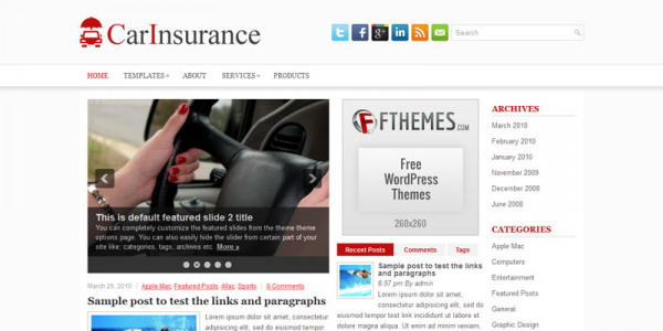 Авто шаблон для wordpress: CarInsurance